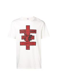 T-shirt à col rond imprimé blanc Yang Li