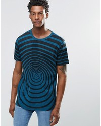 T-shirt à col rond imprimé bleu canard