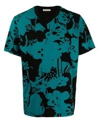 T-shirt à col rond imprimé bleu canard Moncler