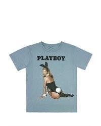 T-shirt à col rond imprimé bleu clair