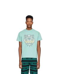 T-shirt à col rond imprimé bleu clair Kenzo