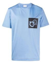 T-shirt à col rond imprimé bleu clair Salvatore Ferragamo