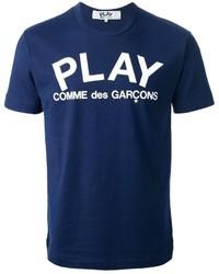 T-shirt à col rond imprimé bleu marine et blanc