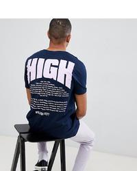 T-shirt à col rond imprimé bleu marine et blanc ASOS DESIGN