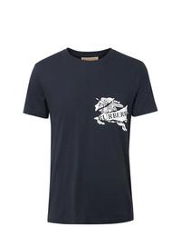 T-shirt à col rond imprimé bleu marine et blanc Burberry