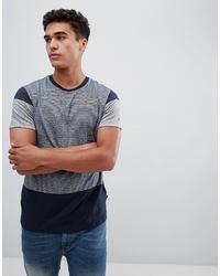 T-shirt à col rond imprimé bleu marine et blanc Burton Menswear