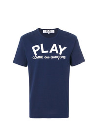 T-shirt à col rond imprimé bleu marine et blanc Comme Des Garcons Play