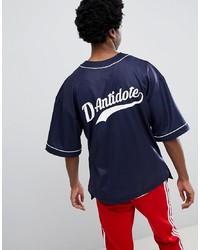 T-shirt à col rond imprimé bleu marine et blanc D-Antidote