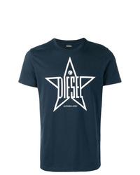 T-shirt à col rond imprimé bleu marine et blanc Diesel