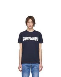 T-shirt à col rond imprimé bleu marine et blanc DSQUARED2
