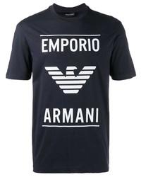 T-shirt à col rond imprimé bleu marine et blanc Emporio Armani