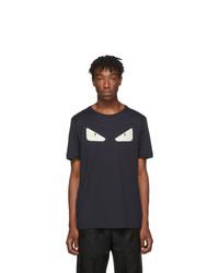 T-shirt à col rond imprimé bleu marine et blanc Fendi