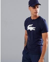 T-shirt à col rond imprimé bleu marine et blanc Lacoste Sport