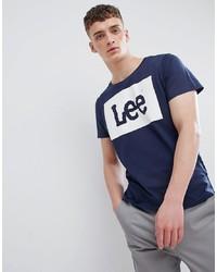 T-shirt à col rond imprimé bleu marine et blanc Lee
