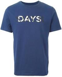 T-shirt à col rond imprimé bleu marine et blanc Saturdays Surf NYC