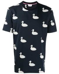 T-shirt à col rond imprimé bleu marine et blanc Thom Browne