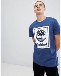T-shirt à col rond imprimé bleu marine et blanc Timberland
