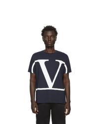 T-shirt à col rond imprimé bleu marine et blanc Valentino