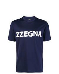 T-shirt à col rond imprimé bleu marine et blanc Z Zegna