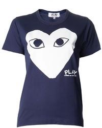 T-shirt à col rond imprimé bleu marine