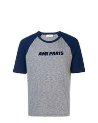 T-shirt à col rond imprimé bleu marine AMI Alexandre Mattiussi