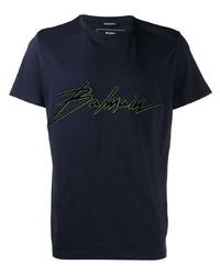 T-shirt à col rond imprimé bleu marine Balmain