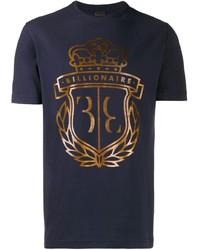 T-shirt à col rond imprimé bleu marine Billionaire