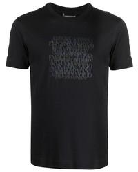 T-shirt à col rond imprimé bleu marine Emporio Armani