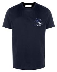 T-shirt à col rond imprimé bleu marine Etro