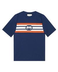 T-shirt à col rond imprimé bleu marine Gucci
