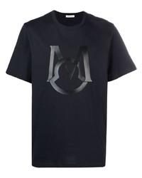 T-shirt à col rond imprimé bleu marine Moncler