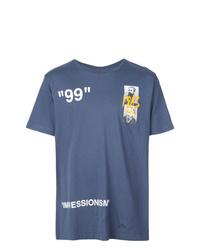 T-shirt à col rond imprimé bleu marine Off-White