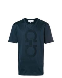 T-shirt à col rond imprimé bleu marine Salvatore Ferragamo