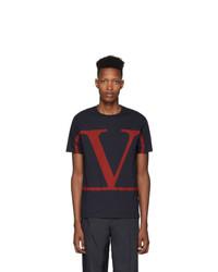 T-shirt à col rond imprimé bleu marine Valentino