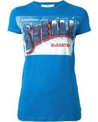 T-shirt à col rond imprimé bleu