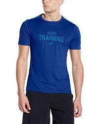 T-shirt à col rond imprimé bleu Asics