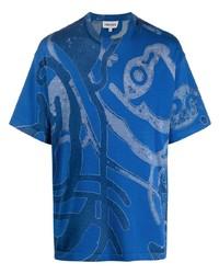 T-shirt à col rond imprimé bleu Kenzo