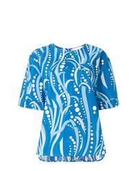 T-shirt à col rond imprimé bleu La Doublej