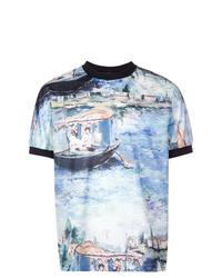 T-shirt à col rond imprimé bleu Off-White