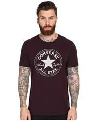 T-shirt à col rond imprimé bordeaux