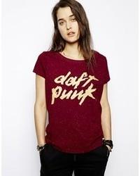 T-shirt à col rond imprimé bordeaux Eleven Paris