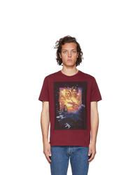 T-shirt à col rond imprimé bordeaux Etro