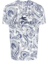 T-shirt à col rond imprimé cachemire blanc Etro