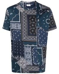 T-shirt à col rond imprimé cachemire bleu marine Etro