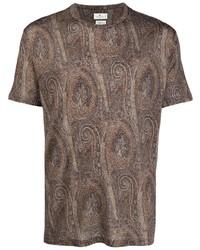 T-shirt à col rond imprimé cachemire marron Etro