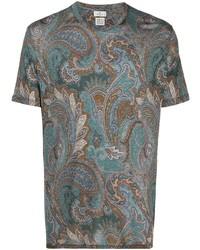 T-shirt à col rond imprimé cachemire multicolore Etro