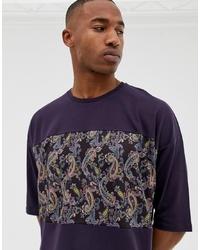 T-shirt à col rond imprimé cachemire pourpre foncé ASOS DESIGN