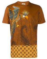 T-shirt à col rond imprimé cachemire tabac Etro