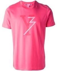 T-shirt à col rond imprimé fuchsia