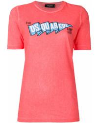 T-shirt à col rond imprimé fuchsia Dsquared2